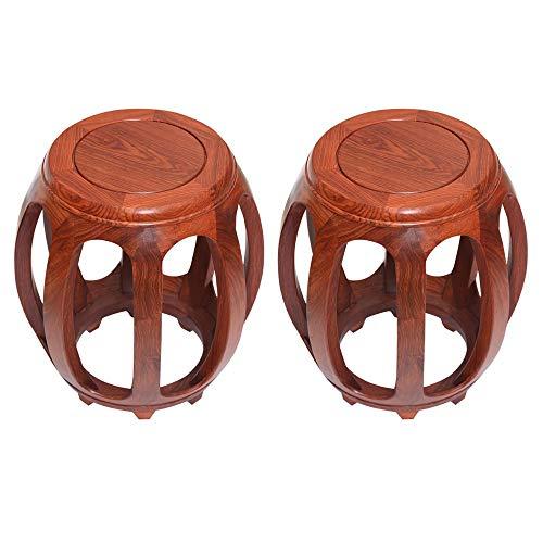 Taburete de bar 2PCS, taburete de comedor chino antiguo para el hogar, taburete redondo, mesa de centro de palisandro, taburete bajo para sala de estar, taburete para cambiar zapatos/A / 29×44