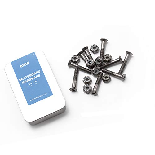 ELOS Skateboards Mounting Hardware Set High Strength Hardened Steel. 1.1 inch Countersunk Allen Bolts with Nylock Nuts. Strong and Rust-Free. (9 Screws and 9 Nuts)