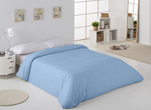 ESTELA - Funda nórdica Combi Liso Cala Color Azul Celeste - Cama de 90 cm. - 100% Algodón - 144 Hilos