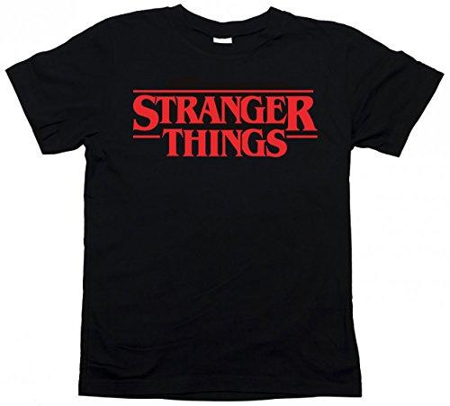 Maglietta t-Shirt Stranger Things Serie TV - Taglie Uomo Donna Bambino (S-Uomo, Nero)