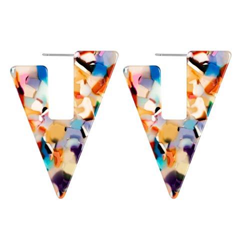 Yhhzw Pendientes Geométricos De Resina De Leopardo Declaración Triángulo Acrílico Pendientes Colgantes Joyería Femenina