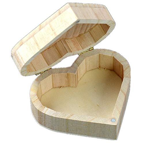 QICHENGBIN Mini Coffret à Bijoux Aimant Buckle Love Box Maquillage Quotidien rétro en Forme de Coeur Boîte de Rangement en Bois, for Toy Papeterie/Peinture Argile 2 PCS