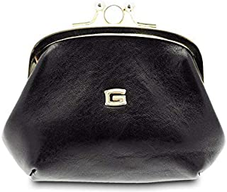 GIUDI ® - Portafoglio in pelle vacchetta, vera pelle, portamonete donna, Made in Italy (Nero)
