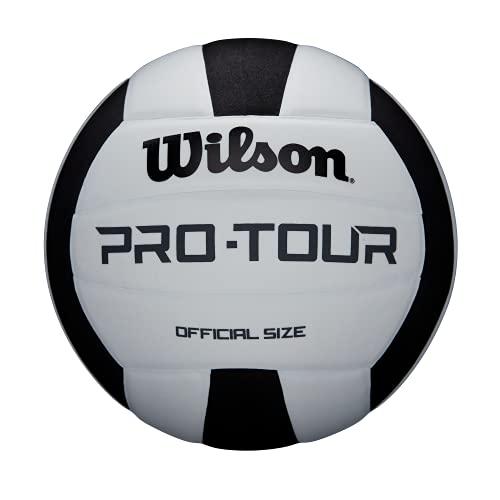 Wilson, Ballon de Volleyball, Pro Tour, Simili cuir, Intérieur, Taille officielle, WTH20119XB, Mixte Adulte, Noir/Blanc, Taille Unique