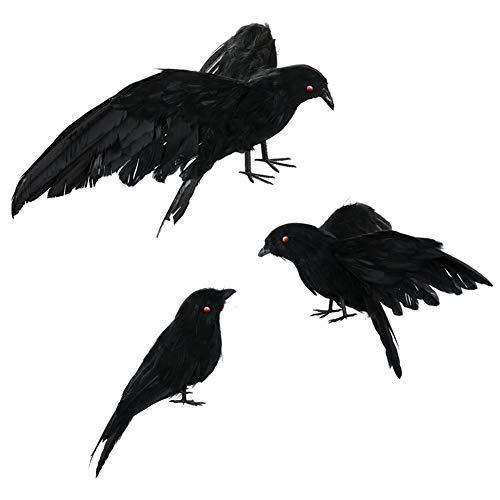 3 STKS Halloween Zwart Gevederde Kraai Realistische Kraai Prop Met Rode Ogen Vliegen en Staande Vogels Ravens Props Décor Vogels Beeldje Beeldje Model