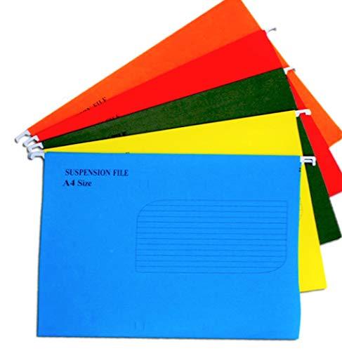 KAHEIGN 25 Piezas Archivos De Suspensión A4, 5 Colores Carpeta De Peso Pesado Parte Superior E Inferior Reforzadas Carpetas De Archivos Colgantes Para Archivadores A4 De Papelería De Oficina Escolar