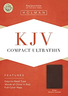 KJV Compact Ultrathin Bible, Brown Genuine Leather