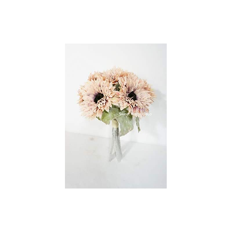 silk flower arrangements sweet home deco 10'' silk artificial gerbera daisy bouquet (w/ 6 stems, 6 flower heads), wedding/home decorations, large autumn daisies, (mauve pink)