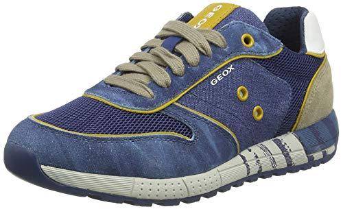 Geox Jungen J ALBEN Boy B Sneaker, Blau (Avio/Beige C4289), 35 EU