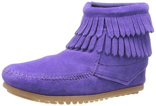 Minnetonka Double Fringe Side Zip Boot (Toddler/Little Kid/Big Kid),Purple,13 M US Little Kid