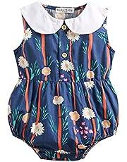 الرضع الصيف الفتيات زهرة داخلية القطن الطفل رومبير الملابس الحلو أكمام (Color : As the picture, Kid Size : 18-24M)
