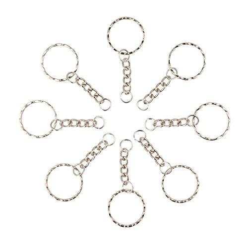 Zinngeschenke 10 Stück Schlüsselanhänger, Schlüsselring mit Kette, sehr fest, schöne gewellte Form. Kette sehr stabil.