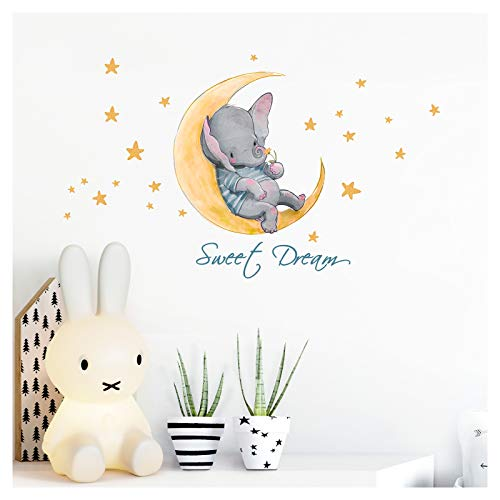 Little Deco Wandtattoo Kinderzimmer Junge Mädchen Spruch Sweet Dream Elefant und Mond Wandaufkleber Sterne Wandsticker Aufkleber Tiere Deko Babyzimmer DL213-10