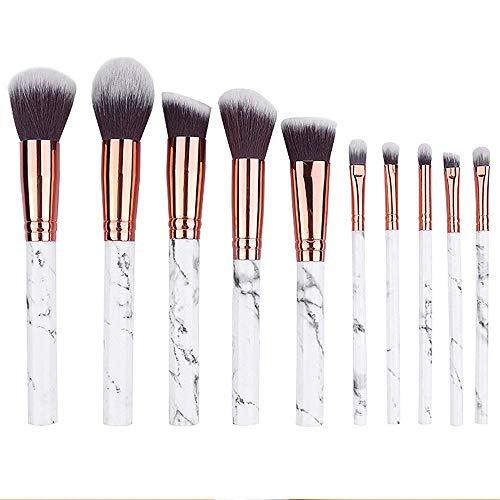 Mommesilk Pinceaux Maquillages Professionnels Lot de 10 Set Pinceaux Premium avec Poils Synthétiques Soyeux et Denses Poudres Crèmes Liquides pour Makeup Cosmétiques