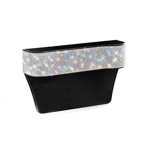 HOB4U Bling Car Seat Organizer Front Seat Gap Filler with Crystal Rhinestones Diamond, PU Leather Car Seat Organizer for Car Interior Accessories for Women, AB Color