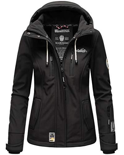 Marikoo Damen Softshell Jacke Winterjacke wasserabweisend Outdoor B864 [B864-Kl.zicke-Schwarz-Gr.S]