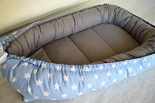 Why Choose Wool Filling Baby Nest Bed Organic Babynest Blue and Grey Co Sleep Nest Newborn Boy Crib Pod Newborn Baby Girl Bed Cocoon Snuggle Bed Baby Lounger