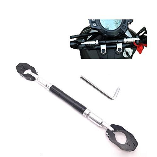 ハンドルブレース ブレースバー バイク 汎用 22mm アルミ 調整可能 287mm-315mm 6角レンチ付き (ブラック)