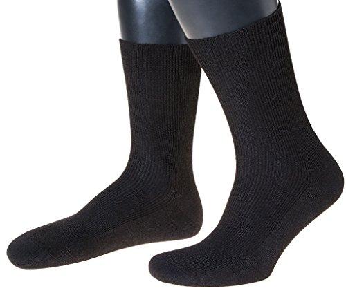 NORDPOL-Strümpfe Herren-Socken mit Wolle Ohne Gummib& Made in Germany (45-47, schwarz)