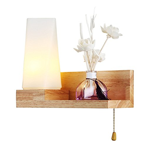 Pouluuo Connectez-vous lampe de salon minimaliste moderne européenne lampe de chevet chambre européenne couloir chaud lampe en bois massif (C859)