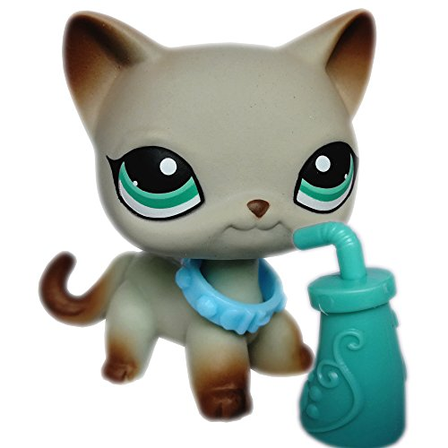 Vspiderman LPS Shorthair Cat 391 Grey Green Eyes Siamese Kitten Kitty with Magnet Clear Peg Accessories Collar Drink Collectible Replacement Figure