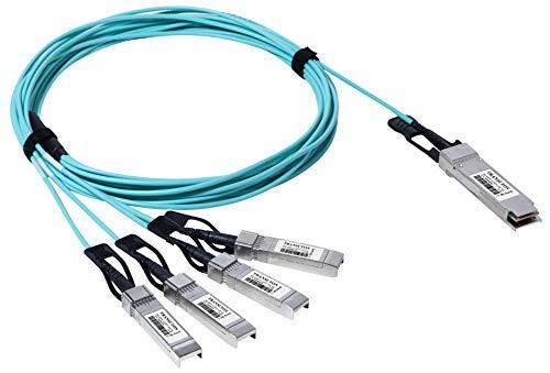 TRANSUTON Cable óptico activo de 40G QSFP+ a 4xSFP+ Breakout | para dispositivos Intel 40GBASE QSFP+ 4x10G SFP+ Cable AOC Breakout (3M/7 pies)