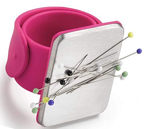 Cojín de costura magnético,Correa de muñeca de silicona magnética,Cojín de alfiler cuadrado con correa de muñeca de silicona Muñequera para pinzas de pelo de bordado de costura DIY