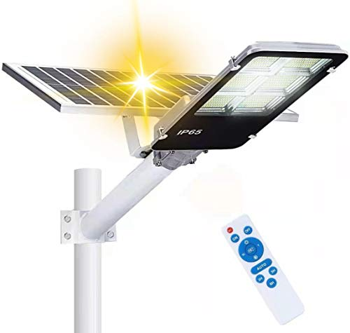 360W Solar Street Lights Outdoor,360 LEDs Dusk to Dawn Solar Led Outdoor Waterproof Light with Remote Control 6500K White Security Led Flood Light for Parking Lot Pathway Yard Road and Garden
