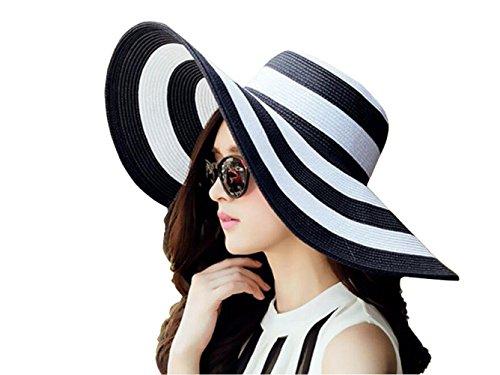 1 x Damen-Strohhut mit breiter Krempe, weiß + schwarz, gestreift, faltbar, Strandmode, Strandbekleidung, Strandhut mit LSF 50+