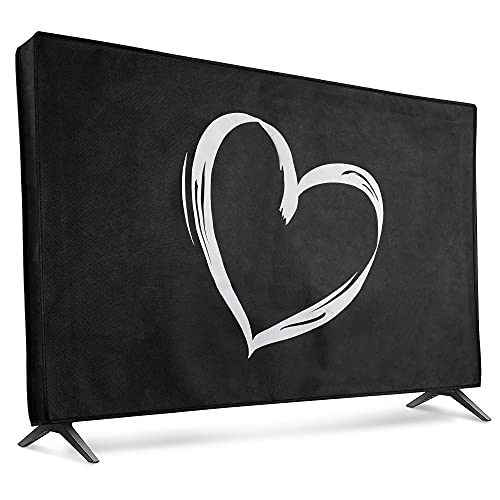 kwmobile Dust Cover for 43' TV - Flat Screen TV Protector - Brushed Heart White/Black