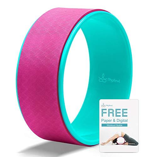 PHYLLEXI Yoga-Rad für Rückendehnung – Pro Grade stark und bequem, großes Dharma-Rad für Rückenschmerzen und Verbesserung der Rückenbeuge, 32,6 x 12,7 cm, Rosa - 32,8 cm, 12.6 inch