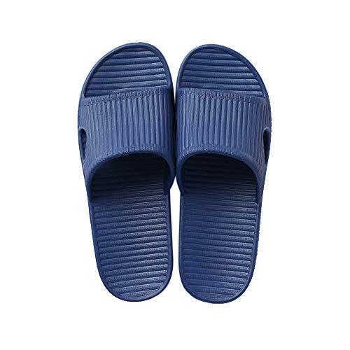 JoWebb Unisex Slip On Slippers for Women/Men Non-Slip Light Weight Flat Slide Sandals Shower Sandals House Soft Flip Flop Shoes for Indoor Home Garden Bathroom Poolside M-Blue 8.5/9 UK