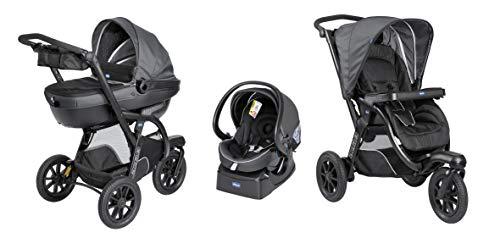 Chicco Trio Activ3 Kinderwagen 3 in 1 Modulares Baby Travel System mit Kit Car, 3-Rad Kinderwagen, Kinderwagenaufsatz und Babyschale Gruppe 0+, mit klappbarem, kompaktem Verschluss, jet black