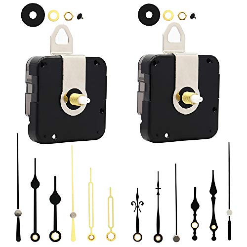 12888 2 Pack Clock Movement Mechanism with 4 Pairs of Short Hands Battery Silent Sweep Operated Quartz Clock Motor Kit DIY Repair Parts Replacement,Total Shaft Length is 16 mm (41/64 inch).