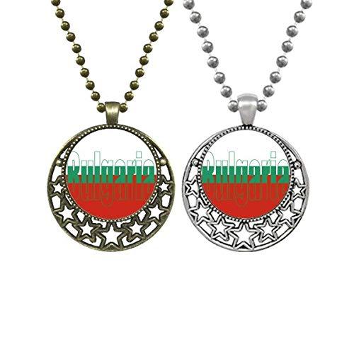 Bulgarien Landesflagge Name Liebhaber Halskette Anhänger Retro Mond Sterne Schmuck