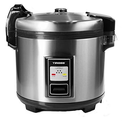 TIROSS TS999 rijstkoker / -warmer in commerciële kwaliteit, 60 kopjes met klapdeksel, buitenkant van roestvrij staal, binnenpot met anti-aanbaklaag | incl. lepel, maatbeker 5,5 l 1350 W