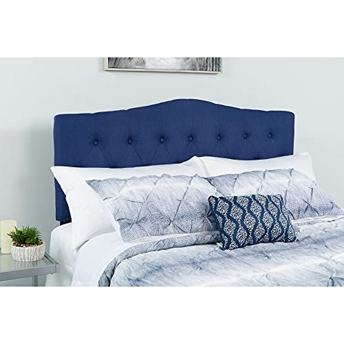 Flash Furniture Cambridge Tufted Upholstered King Size Headboard in Navy Fabric