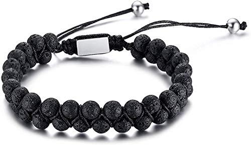Mens Lava Felsen-Stein-Ätherisches Öl Diffuser Armband Einstellbar geflochtenen Seil Double-Layer-Korn-Armband-8mm, Schwarz