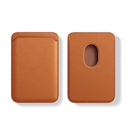 Cartera de Piel con MagSafe para el iPhone 12 Mini/Pro/MAX,Tarjetero RFID con imán MagSafe, 2 Tarjetas como Máximo (Marron)