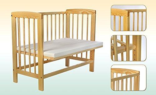 Kidsmax Kombi Beistellbett Kinderbett incl Matratze und Nestchen in 2 Größen 120x60cm naturbelassen