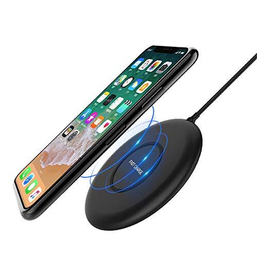 Mettime Cargador inalámbrico ultradelgado de IP5imprägniertes Qi inalámbrica Cargador para iPhone XS MAX/XR/XS/X, Rápido de Carga para Samsung de Galaxia Nota 9/S9/S9Plus y más Negro.