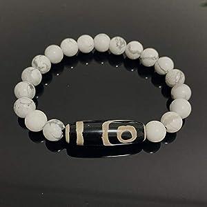 Natürliche Tibetische Dzi Agates Armbänder Schmuck Buddha Gebet Neunäugiger Charme Perle Stein Weiß Howlite Türkis Armbänder-Zwei Augen