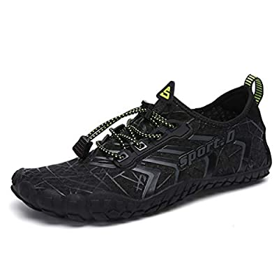 UBFEN Water Shoes Aqua Shoes Swim Shoes Mens Womens Beach Sports Quick Dry Barefoot for Boating Fishing Diving Surfing with Drainage Driving Yoga Size 13 Women / 11 Men A Black