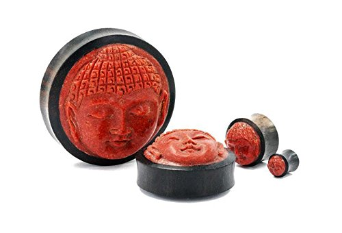 Elementals Organics Areng Wood Plugs for Ear – Ear Gauge with Carved Red Coral Buddha Face, 46mm, 1-13/16 Inch, Price Per 1 Earring