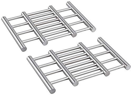 com-four® 2X Hochwertiger Topfuntersetzer aus Edelstahl - Untersetzer für Topf, Pfanne, Auflaufform und Wok - ausziehbar ca. 22-38 x 20 x 1,8 cm (2 Stück)