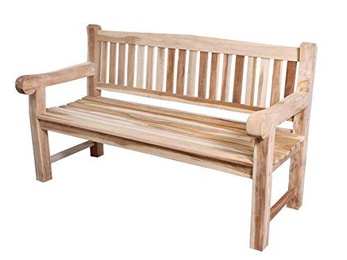 CHICREAT 3 Sitzer Bank Extra Stabil Teakholz Gartenbank Teakbank, ca. 150 cm breit, mit Tablett, Braun