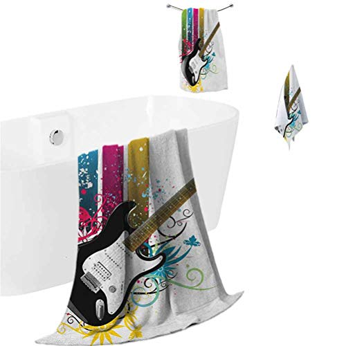 Guitar Microfiber Hair Towel Bass Guitar on Colorful Vertical Stripes with Floral Natural Artistic Ornaments Soft Bath Towel Multicolor