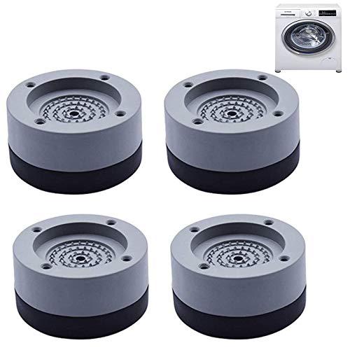 4 pies para lavadora, reducción de ruido y antideslizante, almohadilla de goma antideslizante, almohadilla multifuncional para los pies para lavadoras y frigoríficos (gris, 4 cm)