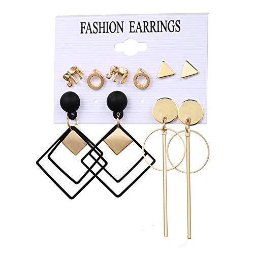Stud Earrings Elephant Diamond Ring Earrings Set 5 Pairs Of Creative Retro Simple Alloy Earrings-Q18