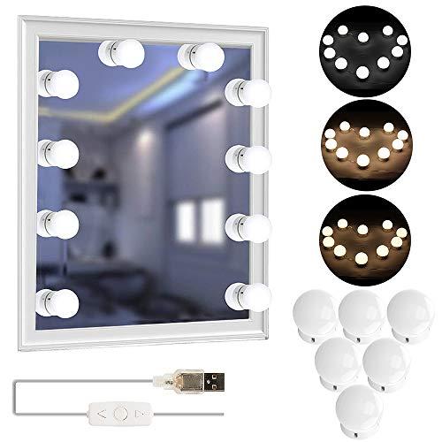 Tomshine Led Spiegelleuchte Hollywood Stil10 LEDs Licht Mit 3 Licht Modus 5 Dimmbar Dehnbar für Kosmetikspiegel/ Schminktisch/ Badzimmer Spiegel [Energieklasse A+++]